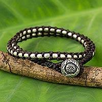Silver and polyester wrap bracelet,