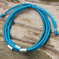 Silver and braided polyester cord bracelet, 'Best Friend in Blue' - Artisan Crafted Blue Braided Bracelet with Silver Accents