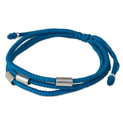 Artisan Crafted Blue Braided Bracelet with Silver Accents