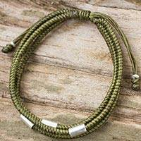 Silver and braided polyester cord bracelet, 'Best Friend in Green' - Hand Crafted Olive Green Braided Bracelet with Silver Beads