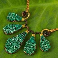 Multi-gemstone and leather pendant necklace, 'Cool Foliage' - Green Gemstone Hand Beaded Leather Necklace from Thailand
