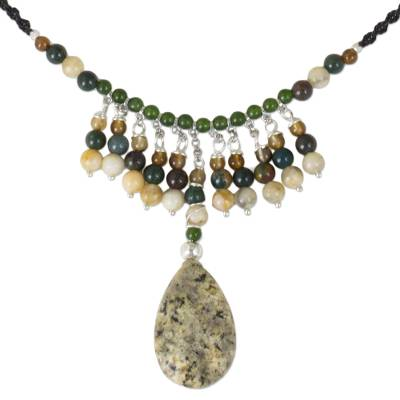 Thai Jasper Macrame Necklace with Agate and Green Quartz