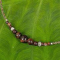 Silver accent tiger's eye necklace, 'Warm Moon Reflections' - Tiger's Eye Macrame Necklace with Silver Beads