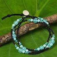 Quartz and serpentine wrap bracelet, 'Chiang Dao Aqua' - Quartz and Serpentine Leather Silver Beads Wrap Bracelet