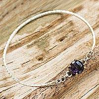 Gold accent amethyst bangle bracelet, 'Purple Fascination' - Sterling Silver and Amethyst Bangle with 24k Gold Accents