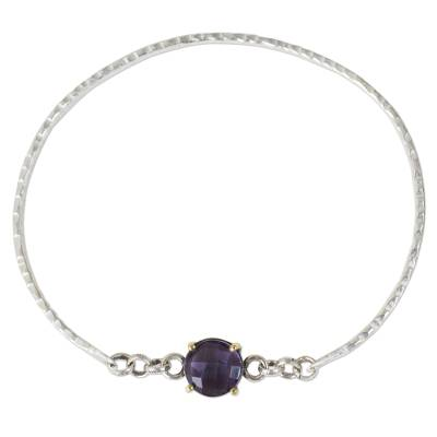 Sterling Silver and Amethyst Bangle with 24k Gold Accents