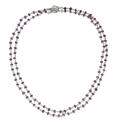 Amethyst Strand Necklace with Flower Clasp Artisan Jewelry