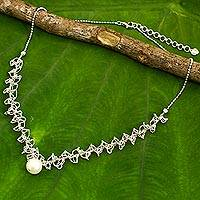 Cultured pearl pendant necklace, 'Jasmine Mist' - White Pearl Pendant on Artisan Crafted 925 Silver Necklace