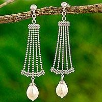 Cultured pearl chandelier earrings, 'Jasmine Terrace' - Thai Sterling Silver Chandelier Earrings with Cultured Pearl