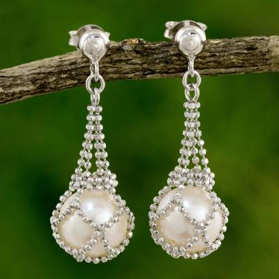Cultured pearl chandelier earrings, 'Lily Dewdrop' - Thai Cultured Pearl and Sterling Silver Chandelier Earrings
