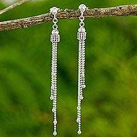 Sterling silver dangle earrings, 'Scintillating Waterfall' - Modern Thai Earrings Handcrafted in 925 Sterling Silver