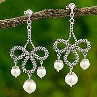Cultured pearl chandelier earrings, 'Aurora Rose' - Pearl Chandelier Earrings 925 Sterling Silver Artist Jewelry