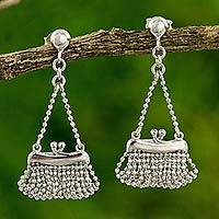 Sterling silver dangle earrings, 'Pretty Purse' - Sterling Silver Purse Earrings Original Thai Jewelry