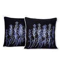 Cotton cushion covers, 'The Galangal Flowers' (pair) - Artisan Crafted Floral Cotton Cushion Covers (Pair)