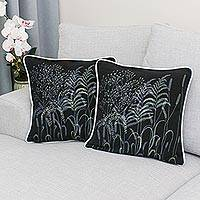 Cotton cushion covers, 'Thai Grasses' (pair) - Thai Hand Crafted Floral Cotton Cushion Covers (Pair)