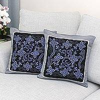 Cotton cushion covers, 'Cheesewood Floral' (pair) - 100% Cotton Artisan Crafted Floral Cushion Covers (Pair)