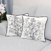 Cotton cushion covers, 'Falling Leaves' (pair) - Fair Trade 100% Cotton Cushion Covers with Leaf Motif (Pair)