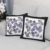 Cotton cushion covers, 'Plumeria' (pair) - Cotton Artisan Crafted Cushion Covers with Flowers (Pair)
