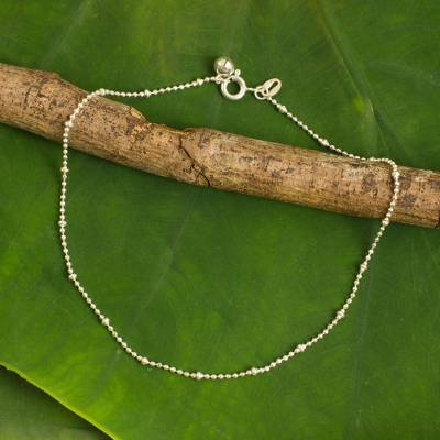 Sterling silver anklet, 'Siam Dancer' - Sterling Silver Anklet with Bell Artisan Crafted Jewelry