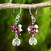 Cultured pearl and garnet dangle earrings, 'Karen Roses' - Karen Hill Tribe Floral Silver Pearls and Garnet Earrings