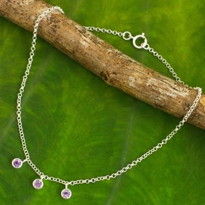 Amethyst anklet, 'Light' - Thai Amethyst and Sterling Silver Artisan Crafted Anklet