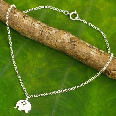 Sterling silver anklet, 'Blooming Elephant' - Handcrafted Thai Sterling Silver Floral Elephant Anklet