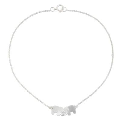 Thai Sterling Silver Anklet with a Twin Elephants Charm