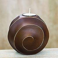 Wood tealight candleholder, 'Asian Moon in Brown' - Hand Carved Mango Wood Tealight Candleholder in Brown
