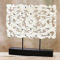 Wood sculpture, 'White Floral Magnificence' - Hand Carved Whitewashed Wood Flower Relief Sculpture