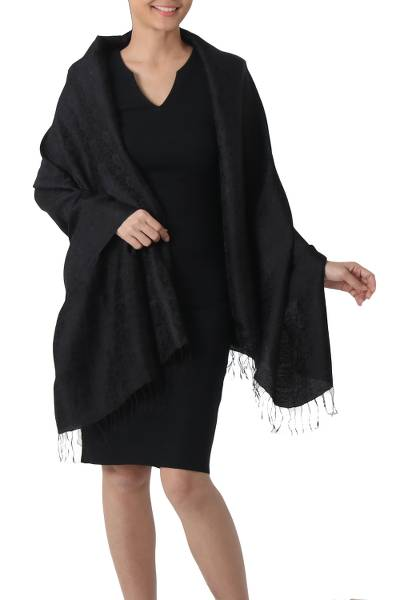 Rayon and silk blend shawl, 'Mandarin Jet' - Artisan Crafted Rayon Blend Black Shawl with Floral Motif