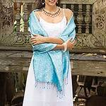 Artisan Crafted Blue Rayon Blend Shawl with Floral Motif, 'Mandarin Sky'