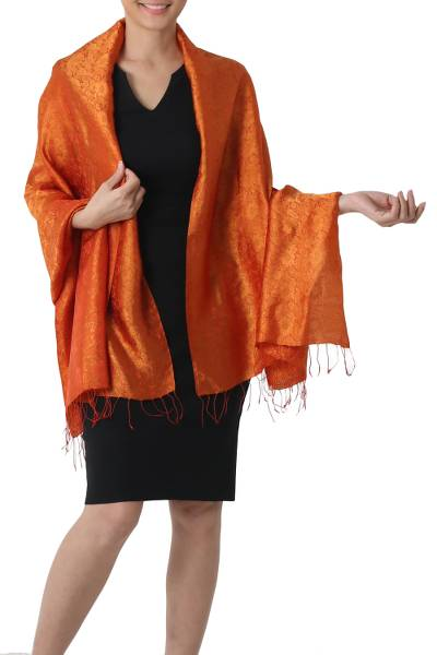 Rayon and silk blend shawl, 'Sweet Mandarin' - Artisan Crafted Thai Rayon Blend Shawl with Floral Motif