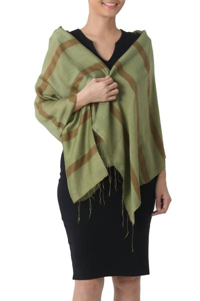 Silk blend shawl, 'Jungle Green' - Hand Woven Green Silk Blend Shawl with Striped Motif