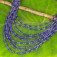 Lapis lazuli beaded necklace, 'Nine Rivers' - Lapis Lazuli Necklace Artisan Crafted Beaded Jewelry