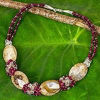 Agate beaded necklace, 'Icy Sherry' - Thai Beaded Jewelry Agate Statement Necklace Crafted by Hand
