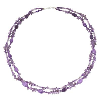 Handmade Beaded Amethyst 38-Inch Long Statement Necklace