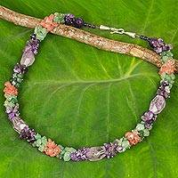 Amethyst and quartz beaded necklace, 'Divine Feminine' - Amethyst with Green and Pink Quartz Handmade Beaded Necklace