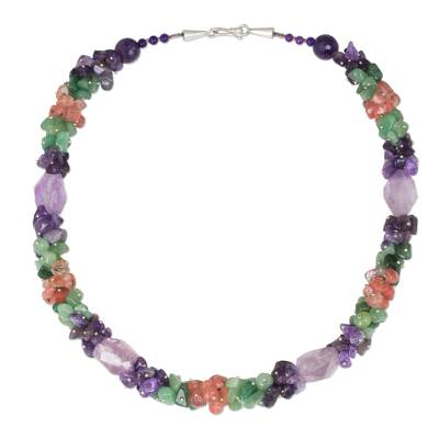 Amethyst with Green and Pink Quartz Handmade Beaded Necklace