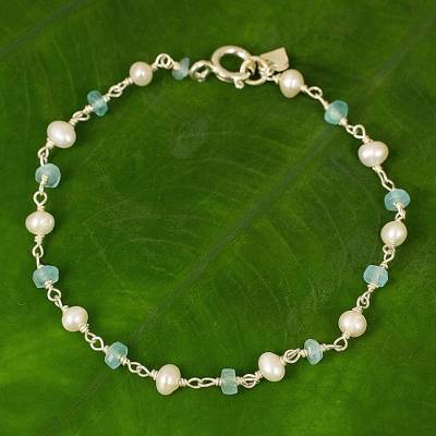 Cultured pearl and apatite link bracelet, 'Morning Blue' - Handmade Apatite and Cultured Pearl Link Bracelet