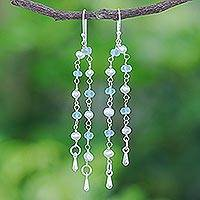 Cultured pearl and apatite dangle earrings, 'Morning Peace' - Handmade Apatite and Cultured Pearl Dangle Earrings
