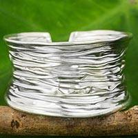 Silver cuff bracelet, 'Forest Bark' - 950 Silver Wide Cuff Bracelet Artisan Made Thai Jewelry