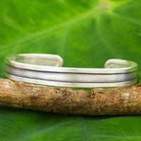 Silver cuff bracelet, 'Classical Karen' - Hand Crafted Silver Cuff Bracelet from Thailand