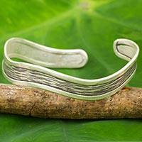 Silver cuff bracelet, 'Karen Groove' - Artisan Crafted Silver Cuff Bracelet from Thailand