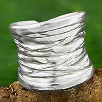 Silver band ring, 'Forest Bark' - Wide Textured Silver Band Ring Crafted in Thailand