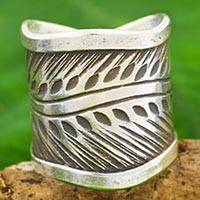 Silver band ring, 'Karen Leaves' - Karen Hill Tribe Handcrafted Leaf Theme Wide Silver Ring