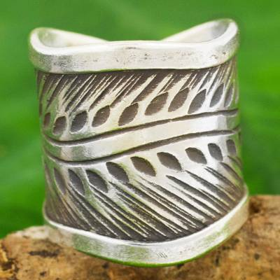 promise rings under 20 dollars - Karen Hill Tribe Handcrafted Leaf Theme Wide Silver Ring