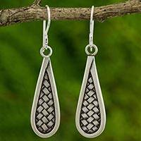 Silver dangle earrings, 'Karen Morning' - Artisan Crafted Silver Dangle Earrings from Thailand