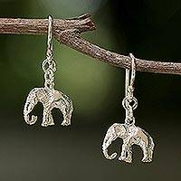 Sterling silver dangle earrings, 'Elephant Adventure' - 925 Sterling Silver Elephant Dangle Earrings from Thailand