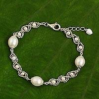 Cultured pearl chain bracelet,