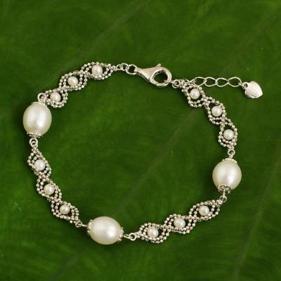 Cultured pearl chain bracelet, 'Rolling Dance' - Artisan Crafted Pearl and 925 Sterling Silver Bracelet